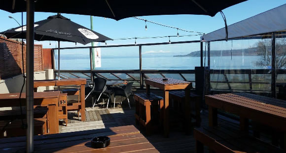 tables and view of lake taupo